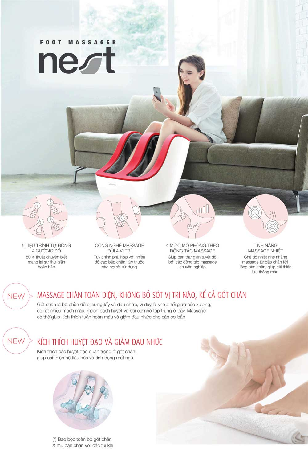 Máy massage chân Johnson Nest FM210 giới thiệu